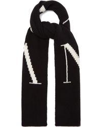 Valentino Écharpe en laine mélangée à logo Vltn en intarsia