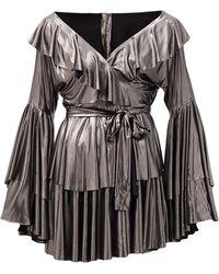 Norma Kamali メタリックジャージー ティアードラップドレス - マルチカラー