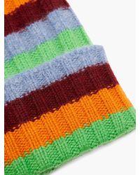 The Elder Statesman Bunny Echo Striped Ribbed-cashmere Beanie Hat - Green