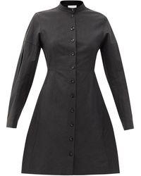 Jil Sander Long-sleeve Flared Linen Dress - Black