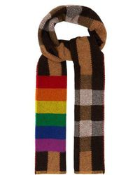 Burberry - Rainbow-striped Checked Cashmere Scarf - Lyst
