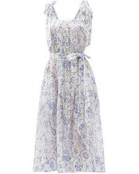 Evi Grintela Floral-print Cotton Midi Dress - Multicolour