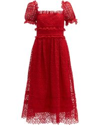 Self-Portrait Hibiscus Flower Guipure-lace Midi Dress - Red