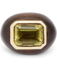 Rosa De La Cruz Citrine, Ebony & 18kt Gold Ring - Green