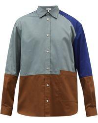 Loewe カラーブロックパッチワーク コットンシャツ - ブルー