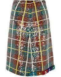 Ashish Bead-embellished Sequinned Plaid Skirt - Green