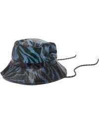 Ganni Zebra-print Pvc Bucket Hat - Blue