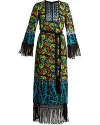 Andrew Gn Multi-print Tie-waist Silk-blend Georgette Gown - Multicolor