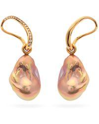 Charlotte Chesnais Slide Diamond, Pearl & 18kt Gold Drop Earrings - Metallic