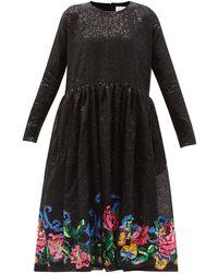 Ashish Disco Roses Floral Sequinned Dress - Black