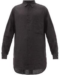 Raey ロングライン リネンシャツ - ブラック
