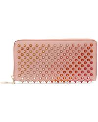 Christian Louboutin Panettone Embellished Zip Around Leather Wallet - Pink
