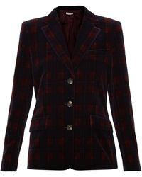 Bella Freud タータンチェック コットンベルベット シングルジャケット - ブラック
