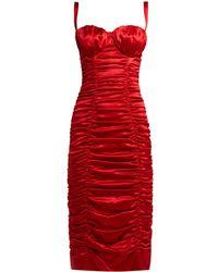 Dolce & Gabbana Ruched Silk Blend Satin Midi Dress - Red