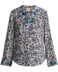 Le Sirenuse - Milana Suzani Print Cotton Blouse - Lyst