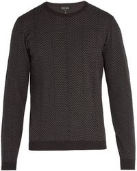 Giorgio Armani - Herringbone Knit Wool-blend Sweater - Lyst