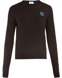 Prada - Logo Intarsia Wool Sweater - Lyst