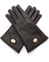 Gucci GG Plaque Craquelé-leather Gloves - Black