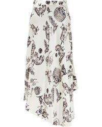 Raey Asymmetric Dip-hem Kitten-print Silk Midi Skirt - Multicolour