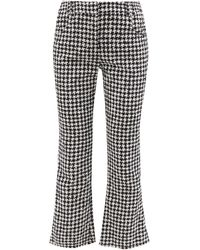 Balmain Houndstooth-check Cotton-blend Flared Pants - Black