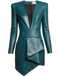 Alexandre Vauthier Plunge Neck Leather Mini Dress - Blue