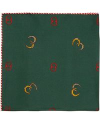 Gucci - Gg And Horseshoe Silk Pocket Square - Lyst