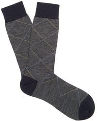 Pantherella - Feldon Geometric-pattern Wool-blend Socks - Lyst