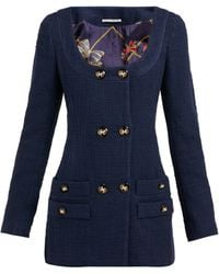 Alessandra Rich Double-breasted Cotton-blend Tweed Mini Dress - Blue