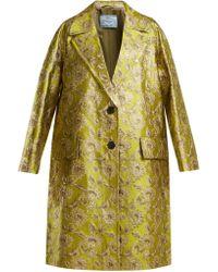 Prada Notch Lapel Floral Brocade Coat - Multicolour