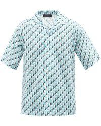 Amiri キューバンカラー A コットンポプリンシャツ - ブルー