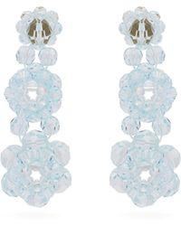Simone Rocha Boucles d'oreilles à pendants en perles fleurs - Bleu