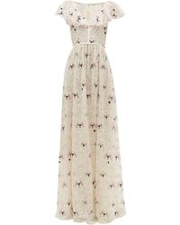 Giambattista Valli Floral-embroidered Chantilly-lace Tulle Gown - Multicolor
