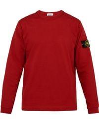 Stone Island Logo Patch Cotton Jersey Sweatshirt - Red