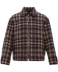 Raey Harrington Checked Wool Jacket - Blue