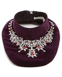 Mary Katrantzou - - Crystal Embellished Velvet Bib Necklace - Womens - Purple - Lyst