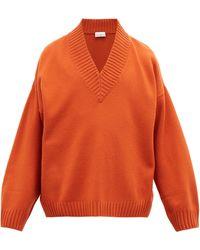 Raey Pull en laine mérinos à col en V - Orange