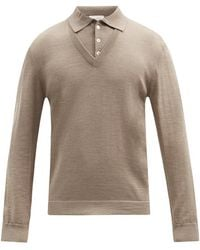 Lemaire Layered-effect V-neck Wool-blend Polo Jumper - Natural