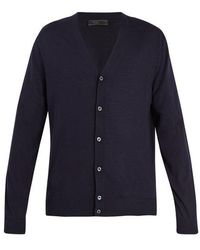 Prada - Long-sleeved Button-front Wool Cardigan - Lyst