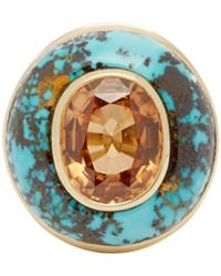 Retrouvai Lollipop Beryl, Turquoise & 14kt Gold Ring - Blue