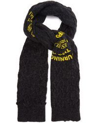 Raf Simons Logo-print Cable-knit Wool Scarf - Grey