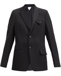 Bottega Veneta グレインドプードルウール シングルジャケット - ブラック