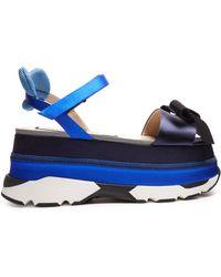N°21 Bow-front Satin Platform-wedge Sandals - Blue