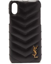 Saint Laurent キルティングレザー Iphone Xs ケース - ブラック