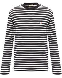 Maison Kitsuné Maison Kitsuné トリコロールフォックス ボーダーコットンtシャツ - マルチカラー