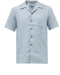 120% Lino 120% Lino キューバンカラー リネンシャツ - ブルー