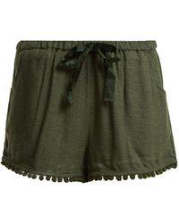 Figue - Maja Tassel Hem Silk Blend Shorts - Lyst