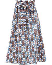 La DoubleJ Sardegna Amalfi-print Cotton-poplin Skirt - Blue