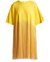 Raey - Fringed Cotton Jersey Dress - Lyst