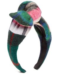 Benoit Missolin Scotty Bow Top Tartan Wool Headband - Multicolor