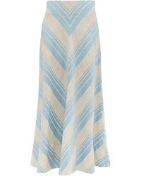 Lee Mathews Tilda Striped Linen Blend Skirt - Blue